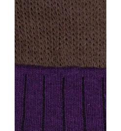 Calza de lana morada y marrón oscuro