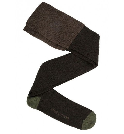 Calza de lana verde caza oscuro y verde caza claro