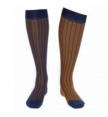 Calcetín Hilo de Escocia bicolor Azul y Mostaza
