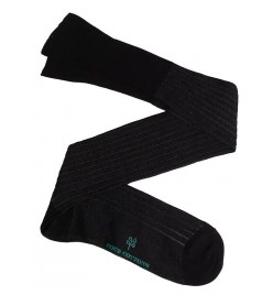 Calcetín de Hilo de Escocia de canalé bicolor negro y gris oscuro