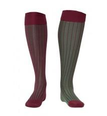 Calcetín de Hilo de Escocia de canalé bicolor vino y verde oscuro