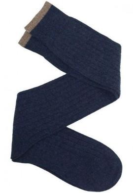 Calcetín de caña alta de lana con cashmere azul petróleo - beige