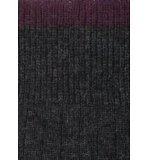 Calcetín de caña alta de lana con cashmere gris antracita - berenjena