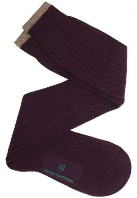 Calcetín de caña alta de lana con cashmere berenjena y beige