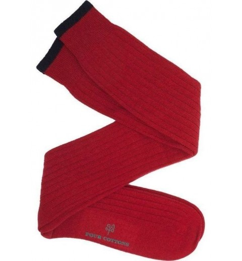 Calcetín de lana con cashmere rojo y azul marino