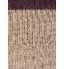 Calcetín de lana con cashmere beige y berenjena