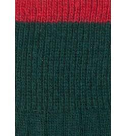 Calcetín de lana con cashmere verde y rojo