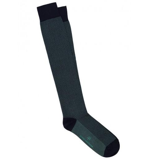 Calcetines de espiga largos en azul y verde