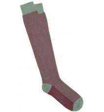 Calcetines de espiga largos en verde oliva y granate