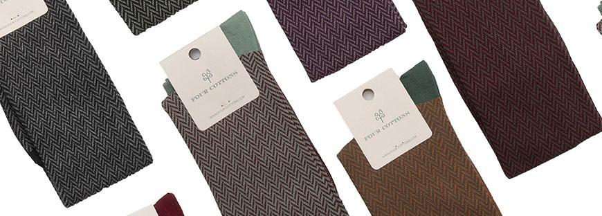 Calcetines largos de algodón con dibujo de espiga en varias colores
