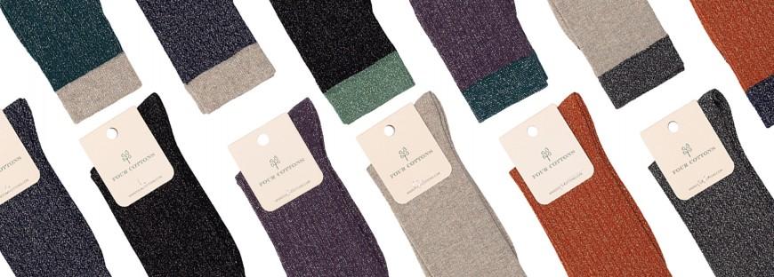 Calcetines de purpurina de media caña de mujer - Four Cottons